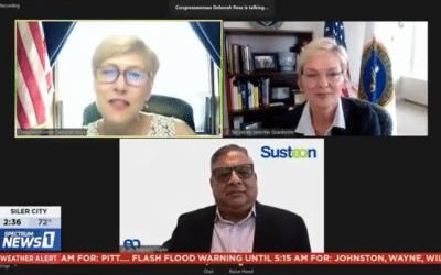 Susteon press call for Direct Air Capture award with Rep. Deborah Ross, Energy Secretary Jennifer Granholm covered by local news